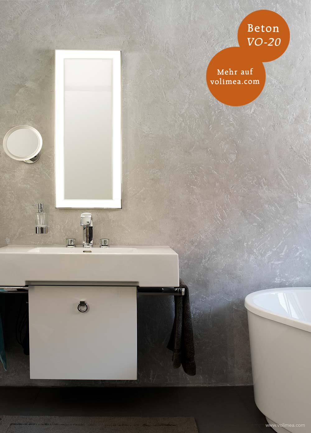 Mikrozement fugenlose Volimea Wandbeschichtung im Badezimmer - Beton VO-20