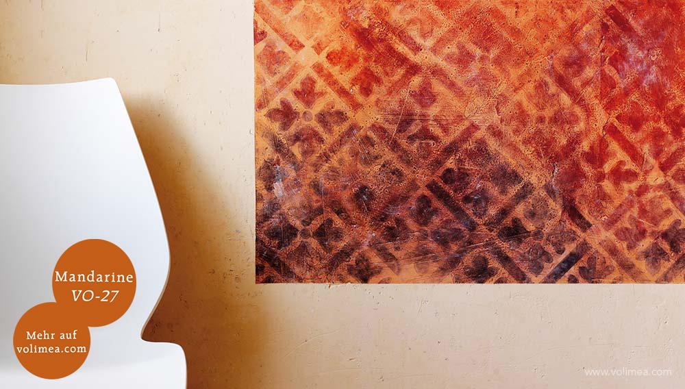 Mikrozement fugenlose Volimea Wandbeschichtung im Büro - Mandarine VO-27