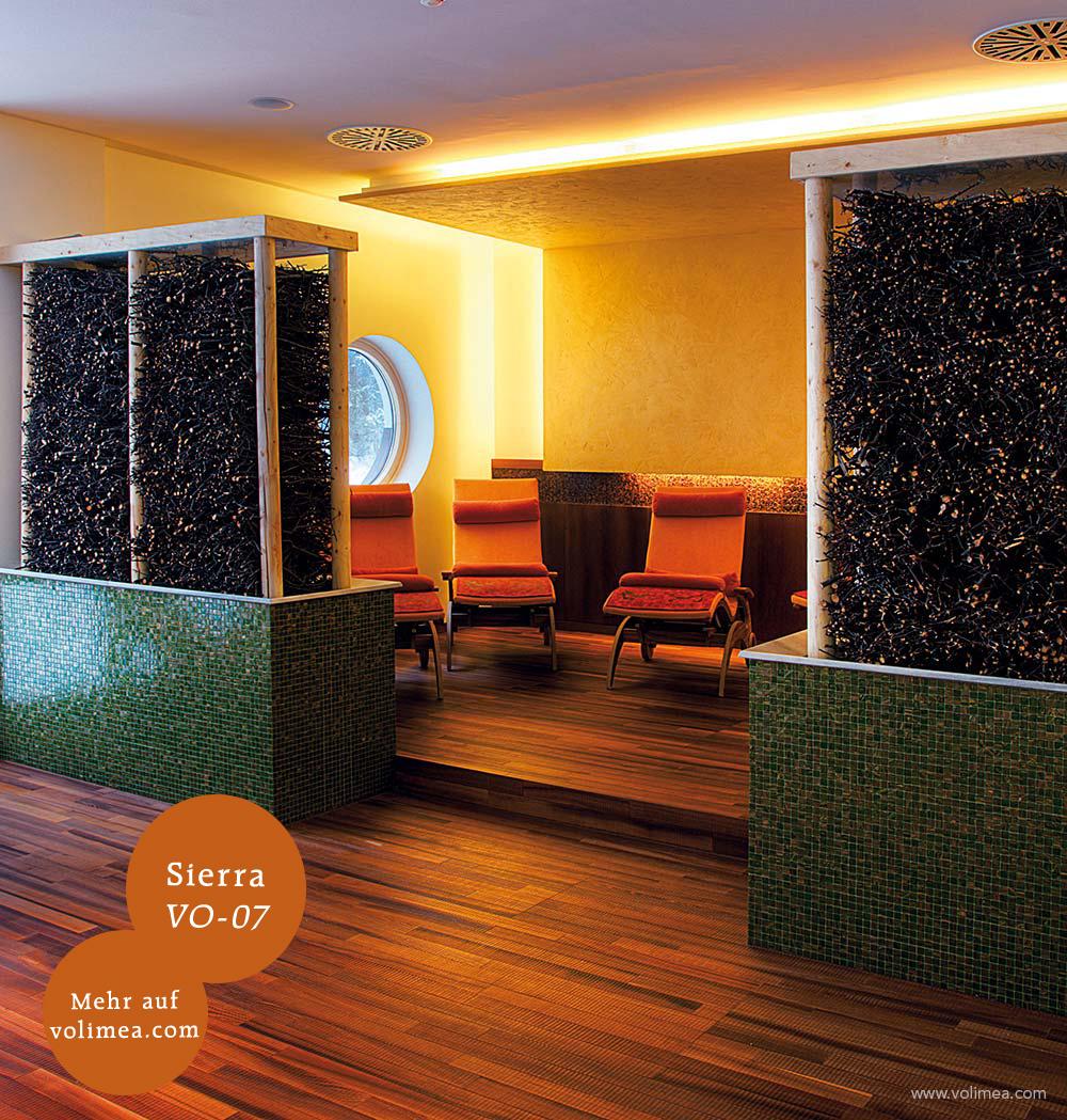 Mikrozement fugenlose Volimea Wandbeschichtung in einem Hotelzimmer - Sierra VO-07