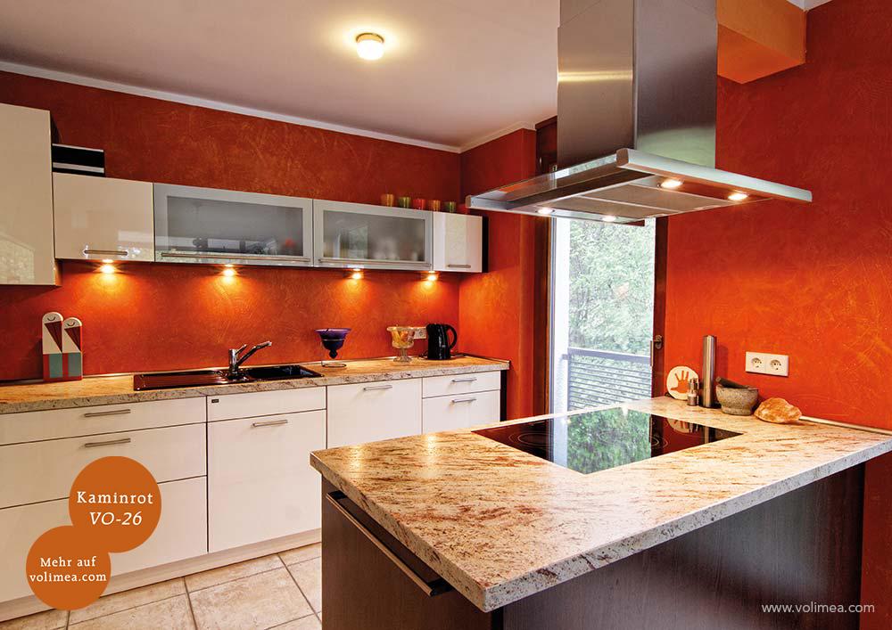 Mikrozement fugenlose Volimea Wandbeschichtung im Küchenbereich - Kaminrot-VO-26