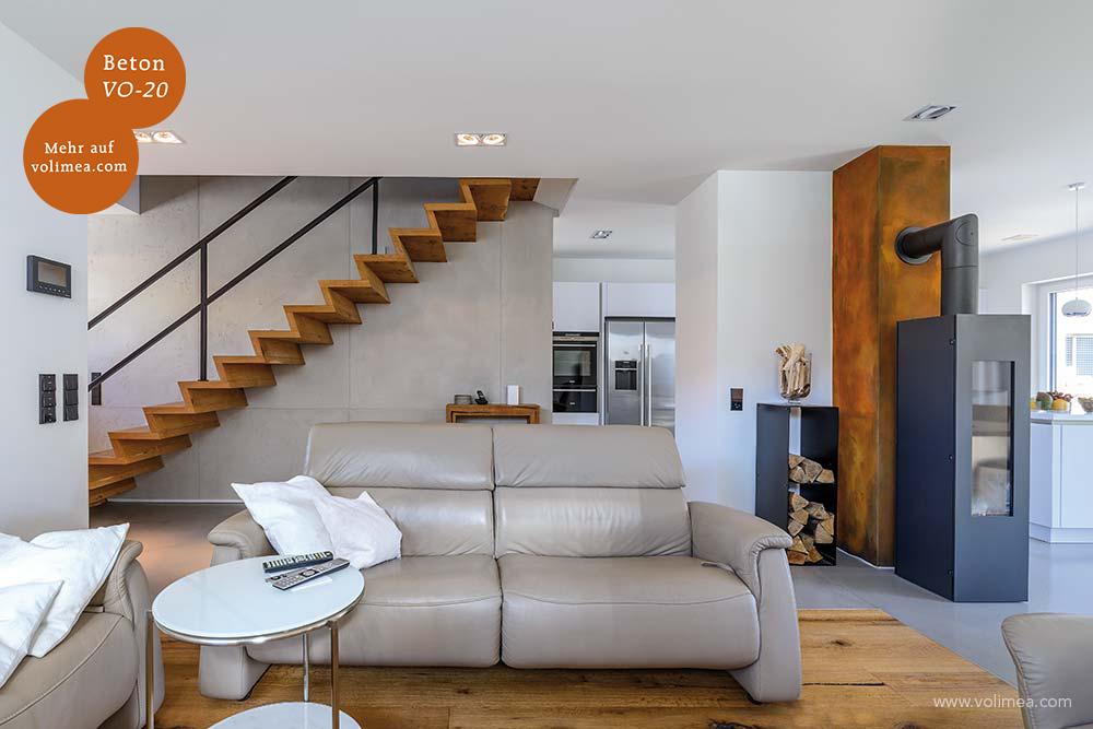 Mikrozement fugenlose Volimea Wandbeschichtung im Wohnbereich Betonoptik - Beton VO-20